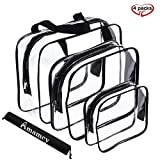Amamcy 3 Pcs Waterproof TSA Clear Cosmetics Bag,Transparent Travel Toiletry Bag Storage Organizer Case for Men &Women (Large/Medium/Small)