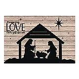 thaisan7, Religious Nativity Christmas Manger Silhouette Barnwood Mural Plastic Backdrop,9ft x 6ft