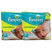 Pañales Swaddlers de Pampers, tamaño 1, paquete de 20 unidades de 2 (total de 40 Pampers)