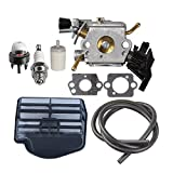 HIPA C1M-EL37B Carburetor with Air Filter Tune Up Kit for Husqvarna 445 445E 450 450E Gas Chainsaw