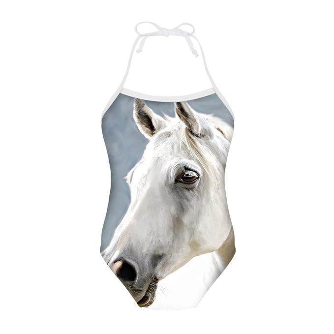 Amazon.com: sannovo caballo impresión una pieza Animal traje ...