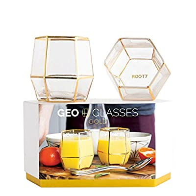 Geo Glass Tumbler. Geometric Terrarium Inspired Drinking Glass in Black or Gold and available as either a Single or Double Pack by Root7