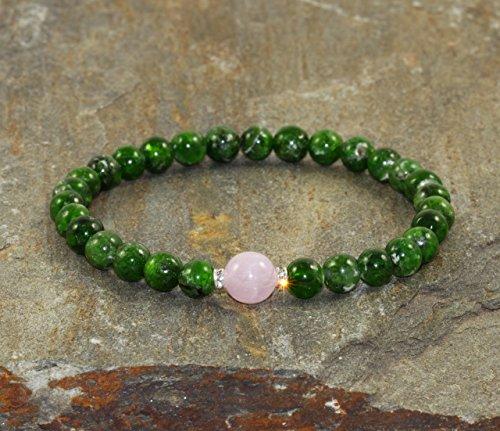 Chrome Diopside & Kunzite Bracelet, Gemstone Bracelet, Wrist Mala, Green Bracelet, A Grade Diopside Jewelry, Yoga Bracelet, Healing Crystals