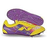 Nivia Men's Stride Mesh PU Yellow and Purple Running Spike