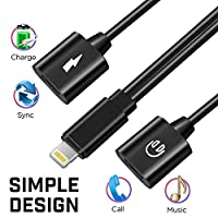 Bsttop Adapter for iPhone X iPhone 8 iPhone 7 / 7 Plus. Dual Lightning Charge Cable and Headphone Audio , Port Adapter and Splitter with Audio, Compatible with iOS 10.33/11 or Later by Bsttop