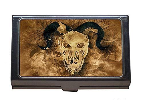 (Stainless Steel Business Card Holder,Skull Demon Scary Halloween Horror Dead Design,Business Card Case for Men and)