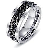 LEEYA NL11 8MM Stainless Steel Rings for Men Engagement Wedding Band Chain Ring, Size 7-13 (9, Black)