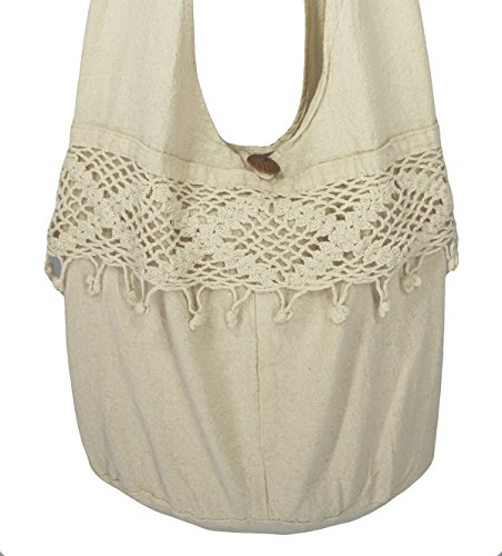 Lovely Creations Women's Crocheted and Cotton Crossbody Shoulder Sling bag Boho Bohemian Style (CH White)