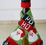 Merry Christmas Santa Tree Wine Bottle Bag Cover Scarf Xmas Dinner Party Table Decor (A)