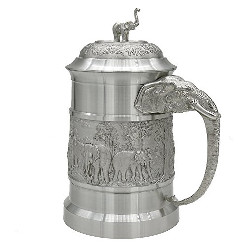 Oriental Pewter - Pewter Mug (with Cover) Pure Tin 97% Lead-Free Pewter BJCL1E Hand Carved Beautiful Embossed Handmade in Thailand by Oriental Pewter