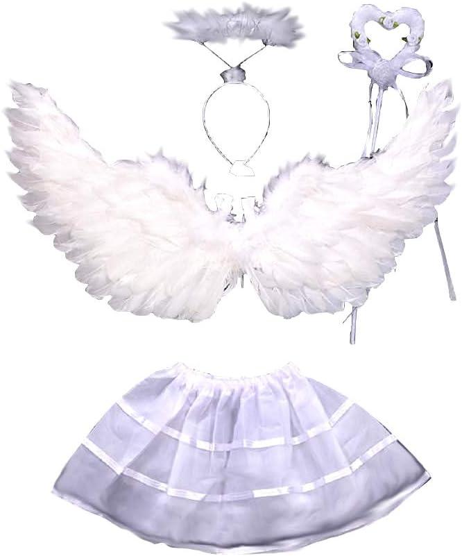 Disfraz - ángel - niña - alas - varita - diadema - tutú - disfraces para niños - halloween - carnaval - cosplay - color blanco - 2-4 años - idea de regalo original cosplay