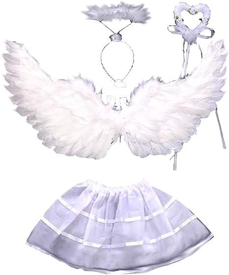 Disfraz - ángel - niña - alas - varita - diadema - tutú ...
