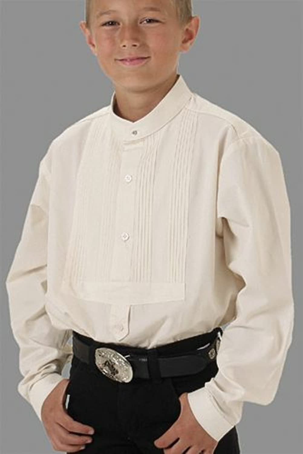 Victorian Kids Costumes & Shoes- Girls, Boys, Baby, Toddler Boys Frontier Banded Collar Shirt Large White $51.95 AT vintagedancer.com