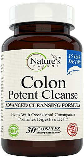 Nature's Potent - Colon Cleanse 15 Day Detox Herbal Supplement with Probiotic, Senna Leaf, Flaxseed and Aloe Vera Gel, 30 Capsules