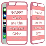 iPhone 6 / iPhone 6S Designer Plastic Pink Case - Audrey Hepburn Quote Happy Girls Coral Pink - Ultra Durable Slim & HARD PLASTIC Highly Protective Vibrant Snap On Designer Back Case Cover [TeleSkins]