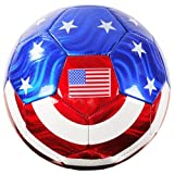 American Flag Soccer Ball Official Size No. 5 USA Memorabilia Red, White & Blue w/ Stars - iGifts Inc.