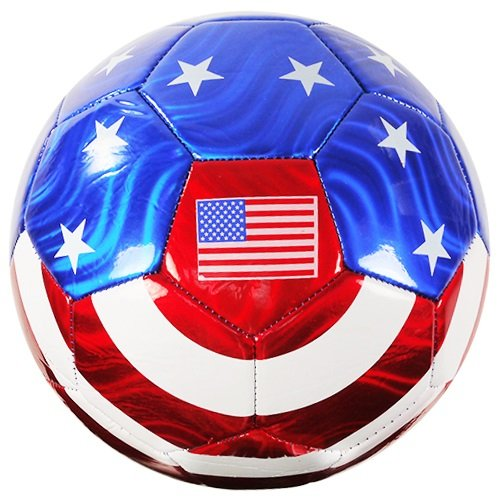 American Flag Soccer Ball Official Size No. 5 USA Memorabilia Red, White & Blue w/ Stars - iGifts Inc. (Flag Soccer Team)