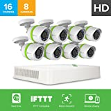 EZVIZ HD 720p Outdoor Surveillance System, 8 Weatherproof HD Security Cameras, 16 Channel 2TB DVR Storage, 100ft Night Vision, Customizable Motion Detection