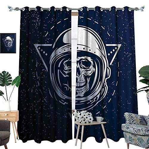 homehot Outer Space Blackout Window Curtain Dead Skull Head Icon Cosmonaut Costume Astronomy Terrestrial Horror Scare Image Customized Curtains Grey Blue for $<!--$95.42-->