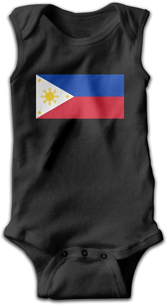 UyGFYytg Flag of The Philippines Baby Newborn Crawling Suit Sleeveless Onesie Romper Jumpsuit Black