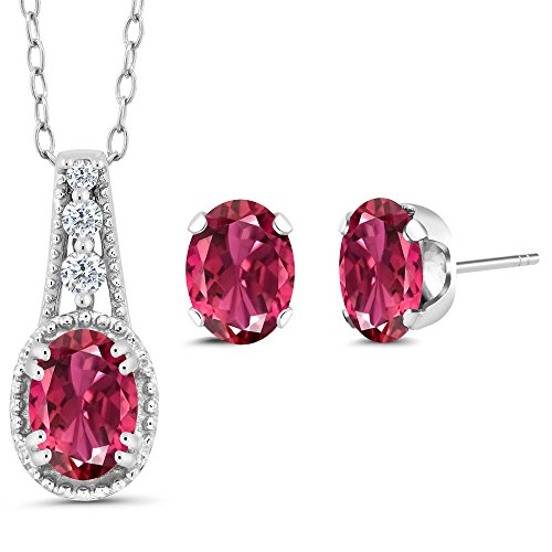 Gem Stone King Sterling Silver Oval Pink Tourmaline Women's Pendant Earrings Set (1.93 cttw, With 18 Inch Chain)