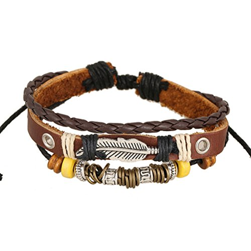 Dallas Selling Vintage Costumes Jewelry - Most Beloved Fashion Leather Dark Brown Adjustable Bracelet with Feather and Charms