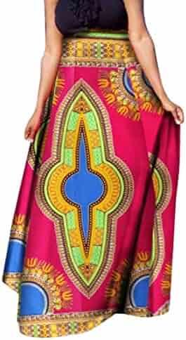7d21211abb2 Winwinus Women Dashiki Big Pendulum Half Skirt African Print Retro Long  Skirt
