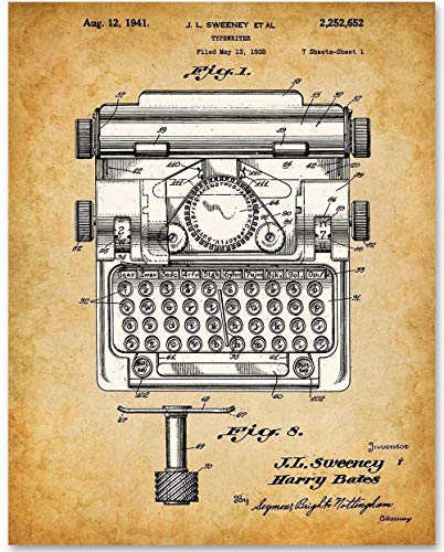 Vintage Typewriter - 11x14 Unframed Patent Print - Great Gift for Writers (Patent Ribbon)