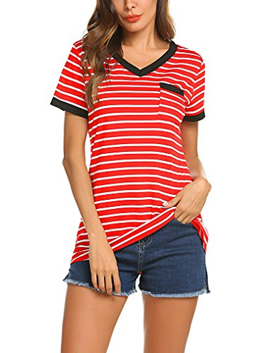 Queensheero Women's Casual Raglan Short Sleeve Patchwork Striped Shirts Loose T-Shirt Tunic Tops (L, Red)