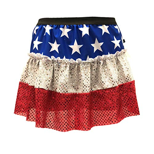 ROCK City Skirts Stars and Stripes Patriotic Sparkle Running Skirt (Medium)]()