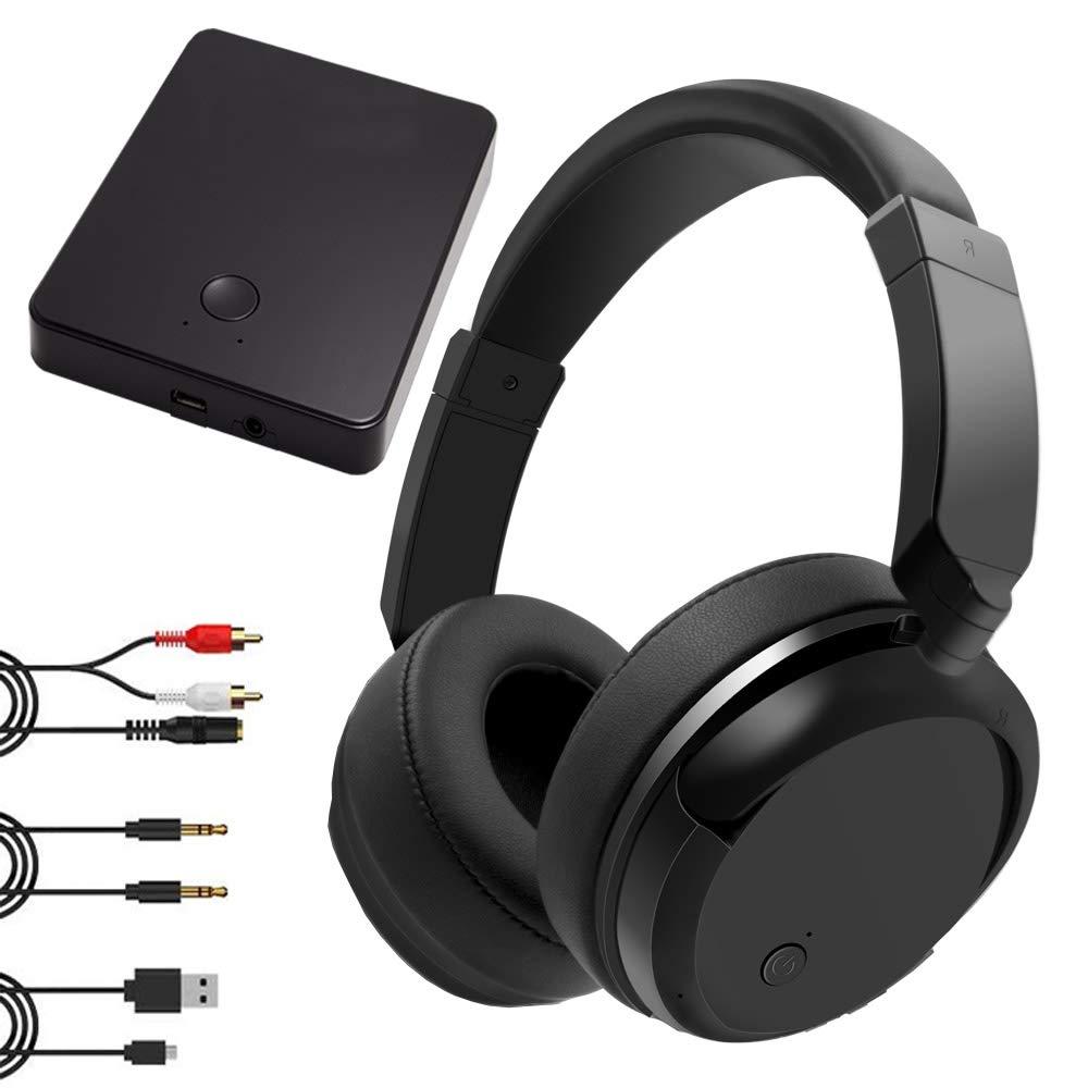 Wireless Headphones for TV Watching, 2.4GHz Wireless TV Headphones 100ft Distance Rechargeable Transmitter, Foldable No Delay TV Headphones Wireless