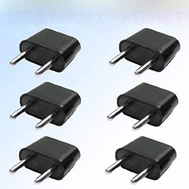 Gimax IMC Hot New 6Pcs European (Round) to American (Flat) Wall Outlet Plug Adapter