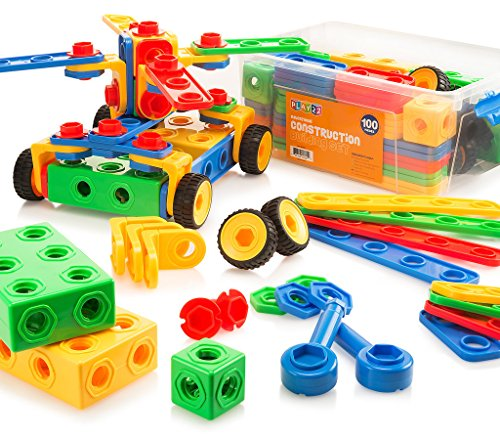 Toy Building Block Set - Building Blocks 100 Set - Building Toys Gift for Boys & Girls - STEM Educational Fun Toy Set, Ages 3 Years and Up - Original - By Play22