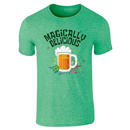 Magically Delicious Beer Funny St. Patrick's Day Heather Irish Green L Short Sleeve T-Shirt