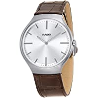 Rado True Thinline Silver Dial Brown Leather Men's Watch