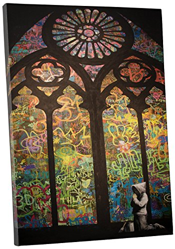 Art Com Stained Glass Print - Pingo World 1205OT5T2EM Stained Glass Window (Cathedral) Gallery Wrapped Canvas Print 20 x 30. Bonus Free Banksy Wall Decal, 20