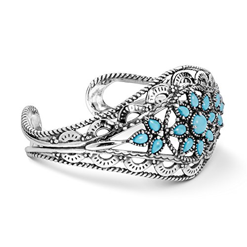 American West Sterling Silver Sleeping Beauty Turquoise Cluster Scallop and Rope Cuff Bracelet Size Medium ()