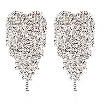 GUYUEXING Full Rhinestones Tassels Heart Shape Large Sparkling Dangle Earrings for Women
