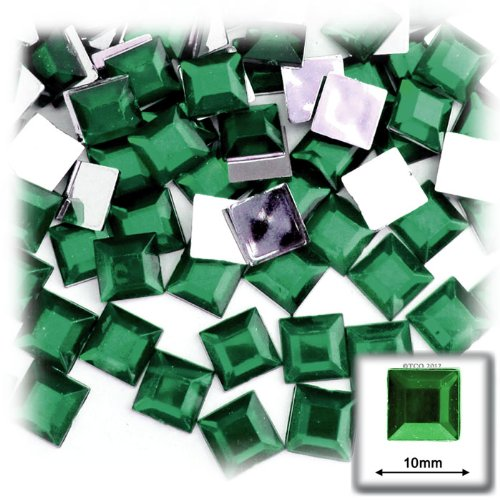 The Crafts Outlet 144-Piece Flat Back Square Rhinestones, 10mm, Emerald Green 10mm Emerald