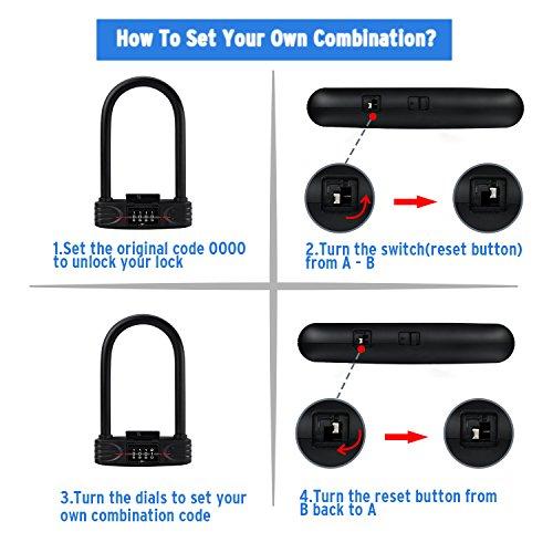 Amazer Heavy Duty Combination Bike U Lock, 12mm Bike Lock Bicycle Heavy Duty Combination U Lock Bike Lock Anti Theft by Amazer (Image #6)