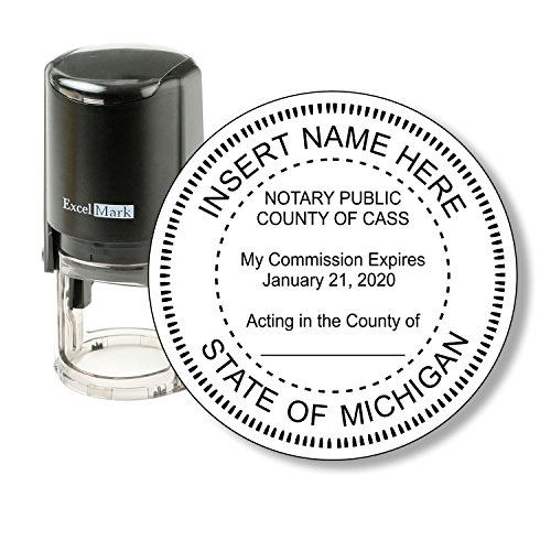 Round Notary Stamp for State of Michigan - Self Inking Stamp - Features the ExcelMark Double Sided Ink Pad for Longer Product Life