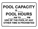 ComplianceSigns Aluminum Swimming Pool / Spa Sign, 10 x 7 in. with English Text, White