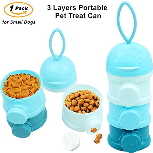 Travel Bowls, Portable Pet Treat Can, Twist-Lock Stackable Dispenser, Spill Proof Multiply Layers Plastic Bottle(BPA Free), Food Storage Container for Small Dogs and Cats Outdoors (Bowl Travel Plastic)