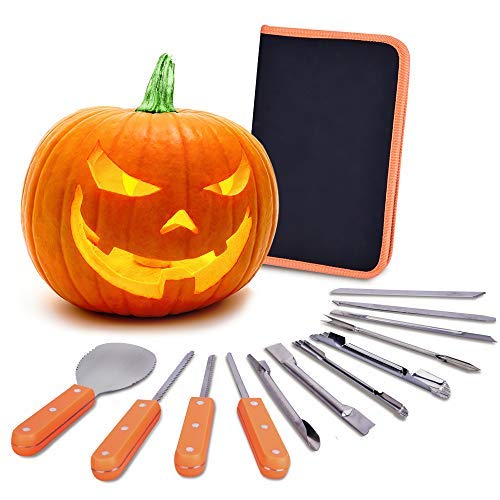 VIVREAL Halloween Pumpkin Carving Kit, 12 Pieces Heavy Duty Stainless Steel Carving Tools Set for Halloween Decoration, Easily Sculpting Jack-O-Lanter]()