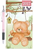 2017 Slim Week To View Hardback Diary with Pen - Cute Teddy Bear on Tree Swing