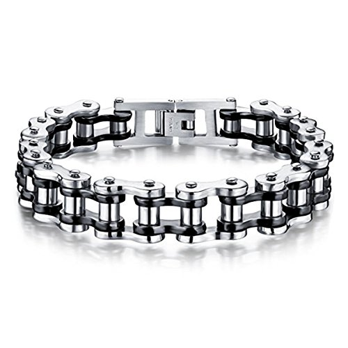 Feraco Mens Bikers Bracelet Stainless Steel Motorcycle Bike Chain Bracelets 8.4 Inch, Black&Silver]()