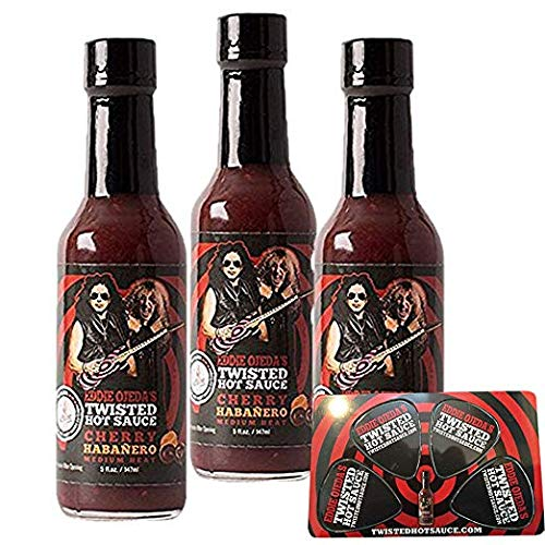 Twisted Hot Sauce Cherry Carolina - Reaper 3 / 5 oz Medium Heat From Eddie Ojeda Twisted Sister Lead Guitarist - Dee Snider / Ojeda Signature Bulls Eye Guitar Label w/ Free Guitar Pick Card (Chy)
