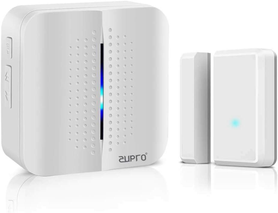 Zupro Wireless Door Sensor Chime Alarm Contact Sensor Door Bell,for Office/Home/Store,Door Open Chime Window Alarm Operate Range 600FT,52 Tunes, 4 Volume Levels,1 Door Sensor+1 Plug-in Receiver