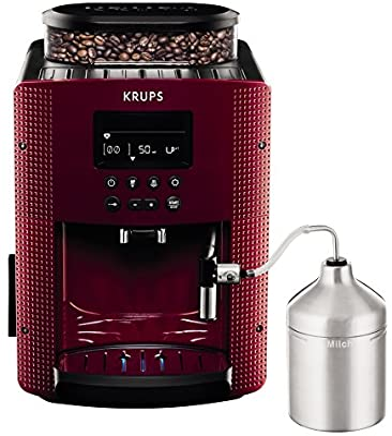 Krups Compact Cappucino EA816570 - Cafetera Superautomática 15 Bares, Pantalla LCD, 3 Niveles Intensidad de 20 ml a 220 ml, Programa de Limpieza y ...