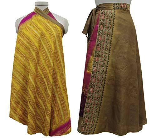 Marron Femmes Soie Imprimer Beach Rouge Check Wrap rversible Jaune Vintage Pure Dress Saree Summer Les Indianbeautifulart qUwS1TZ5n